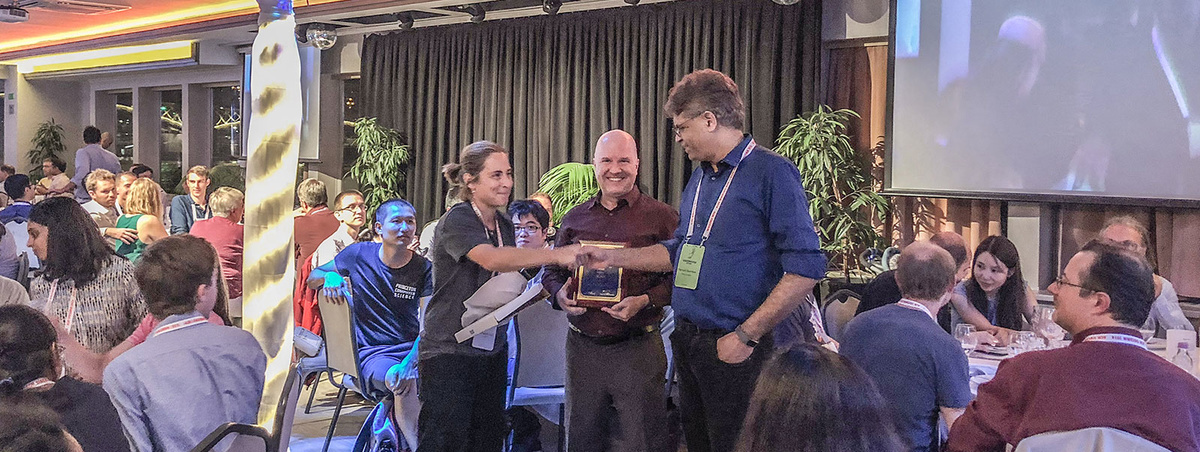 Bruce Maggs and Ramesh Sitaraman receive the ACM SIGCOMM Networking Systems Award at SIGCOMM 2018.