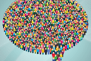 Illustration: Diverse crowd of people in the shape of a word bubble
