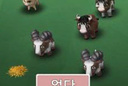 Five animals on a green field in a children's videogame