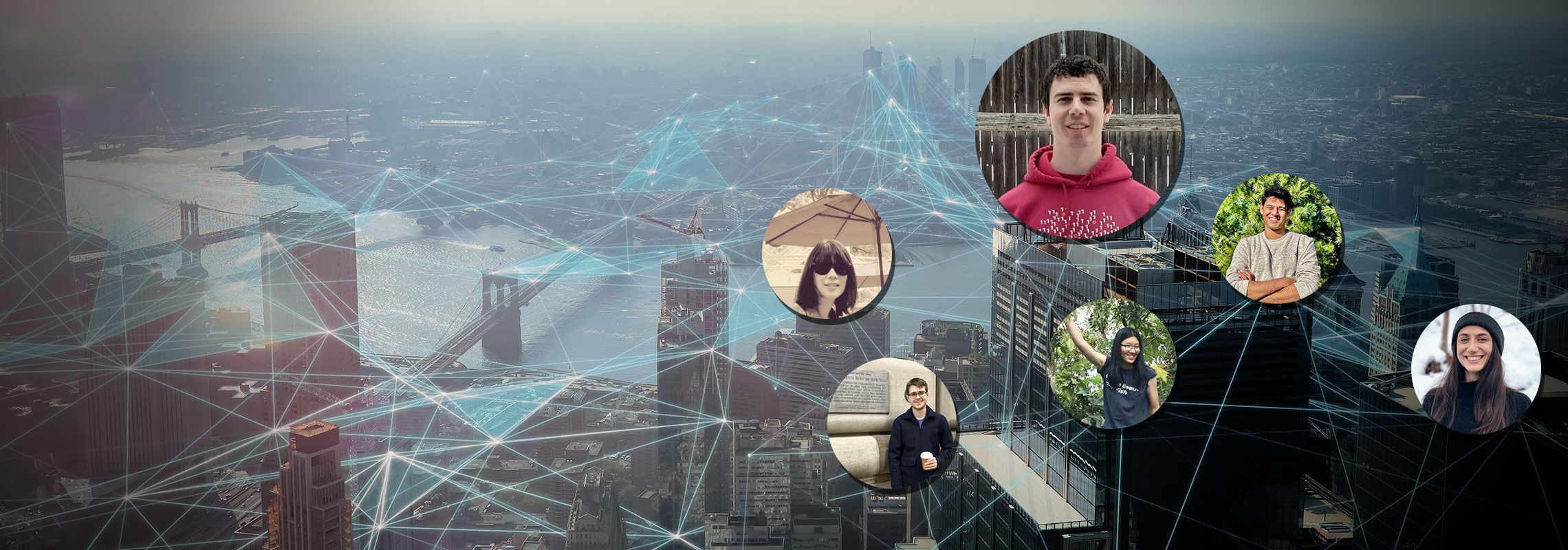Team members over a networked cityscape