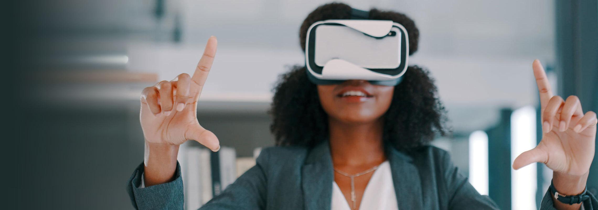 Woman wearing virtual reality (VR) headset