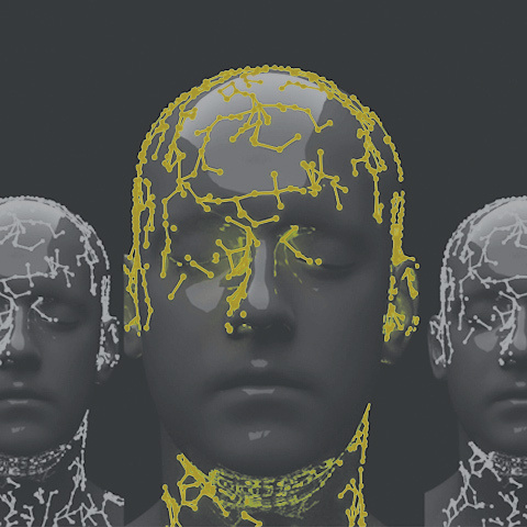 Illustration of face w/ data nodes