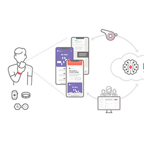 Illustration: a patient using a smartphone, smartphone apps, icons representing medical technology